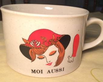 Nice Vintage 70's Womans Face Gres Moi Aussi Coffee Mug