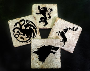 Game of Thrones coaster set of 4. **Ask for free gift wrapping and have them sent directly to the recipient!**