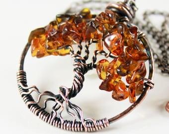 Tree of Life Necklace, Smoky Topaz, Copper Wire Work, Wire Wrapped, Talisman Necklace, November birthstone, holiday gift, alira jewelry