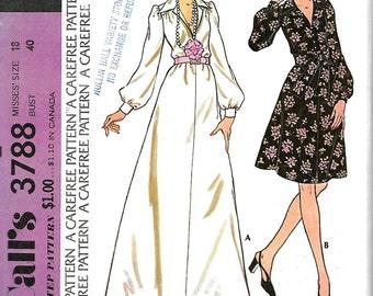 Vntg McCall's 3788 Misses Dress Pattern, Long Dress, Above Knee Length, Size 18, Bust 40, UNCUT