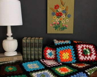 Vintage Crochet Granny Square Black and Multicolored Afghan Throw Blanket