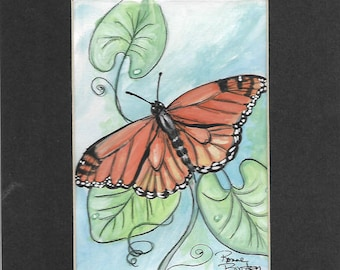Monarch Butterfly study nature wildlife original matted watercolor painting