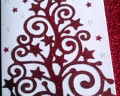 Handmade sparkle red scroll effect Christmas Tree with stars