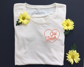 GIRL POWER - Women's Tee - Women's March - Equality - Feminist Shirt- Natural White - Organic T-Shirt - POCKET Tee Design - Girl Gang