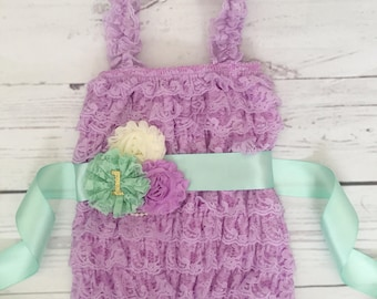 baby girl clothes-Baby girl purple romper-lavender mint gold baby outfit-cake smash outfit-1st birthday outfit-romper set-romper and sash-