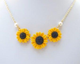 TrioYellow Sunflower Centered Necklace.
