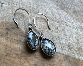 Silver leaf jasper earrings - handmade sterling silver jewelry with natural gemstones