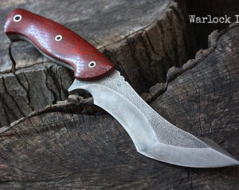 "Handcrafted FOF ""Warlock II"" Custom full tang recurve tactical knife"