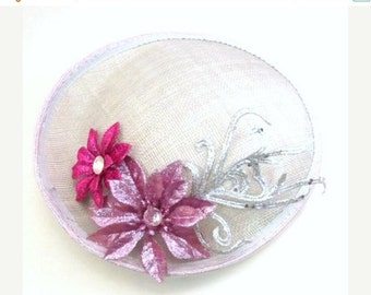 Sale, Silver Fascinator - Kentucky Derby Fascinator -  Handmade Fascinator  - Flower Tea Party Hat