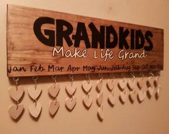 "Family birthday board  ""GRANDKIDS Make Life Grand""  Birthday Calendar Reminder board"