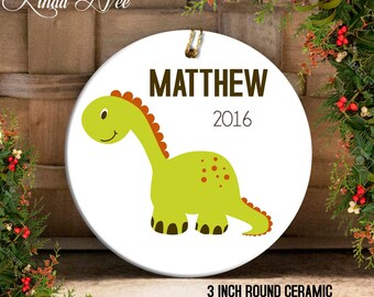 Dinosaur Christmas Ornament, Personalized Kids Ornament, Child's Ornament Gift for Baby Girl Boy, Christmas Dinosaur Ornament Toddler OCH24