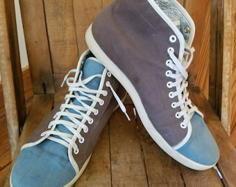 Mens old school high top sneakers ZURRICK, 2 toned canvas size 10