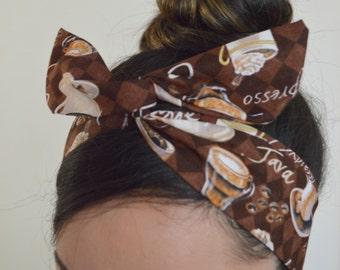 Coffee Bow, Espresso hair bow, Dolly bow Headband, hair bow head band