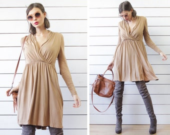 Vintage taupe beige knee length long sleeve drape front simple day dress XS S