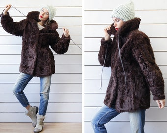70s Vintage shaggy curly genuine sheep fur chocolate brown long sleeve warm winter wear jacket coat S