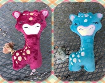 "Giraffe Squishies - Plush Toy - Kids Toy - 9"" tall - Aqua - Ready to Ship - Stuffed Animal"
