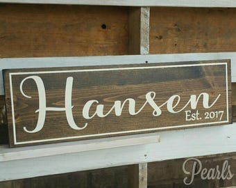 Personalized Last Name Rustic Sign