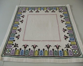 Vintage Swedish hand embroidered rustic tablecloth - Flowers in cross stitch