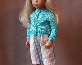 Cute Handmade 3/4 Trousers and Hand knitted sweater cardigan  for Vintage Sasha Doll