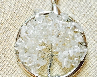 Crystal Quartz Tree of Life Pendant