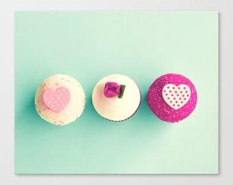 SALE Cupcake photography, Kitchen decor, cupcake lover, kitchen art, kitchen wall art, mint wall art, mint green decor, canvas wall art