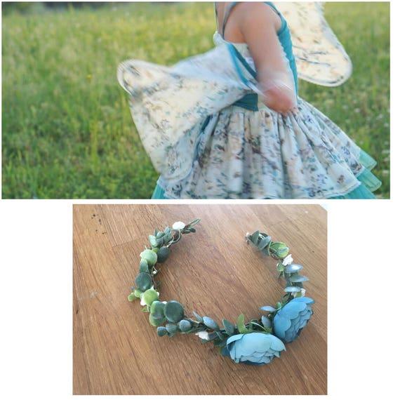Fairy flower crown- Flower crown- Well dressed wolf- Floral crown- Bridal Blush Crown- Flower Girl- Spring Wedding- Dollcake -tutu du m