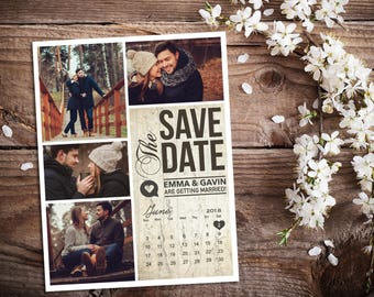 Save The Date Magnet, Card or Postcard . Modern Rustic Birch Calendar