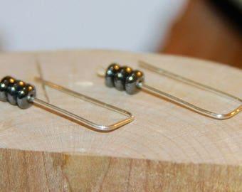 Small Hematite Earrings. Sterling Silver Dangle Earrings, Geometric Jewelry, Geometric Jewellery. Handmade Earrings, Gifts for Her