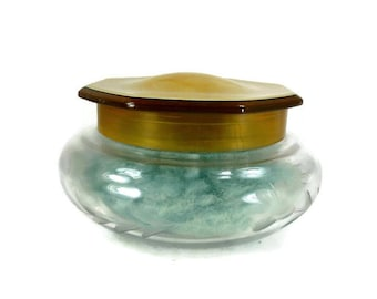 Etched Glass Powder Jar with Celluloid Lid Vintage