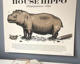 Screenprinted Art Print - House Hippo