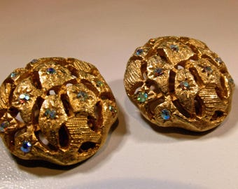 Earrings Vintage TARA Signed Big Bold Gold Plated Clip Domes with AB Crystal Subtle Sparkle Bold Elegant Statement Runway