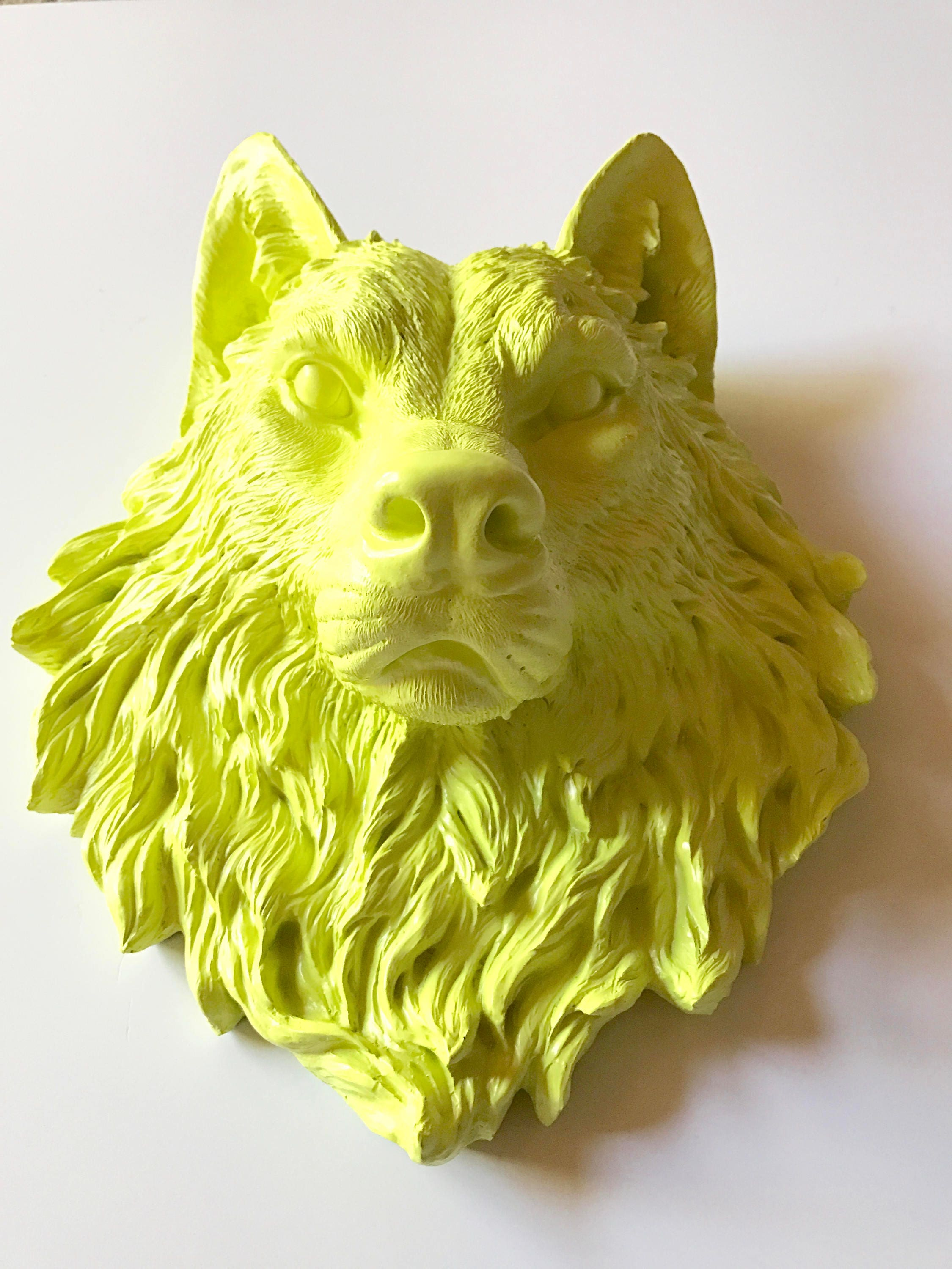 CITRON Large Faux Taxidermy Wolf Head wall mount wall hanging / faux ...