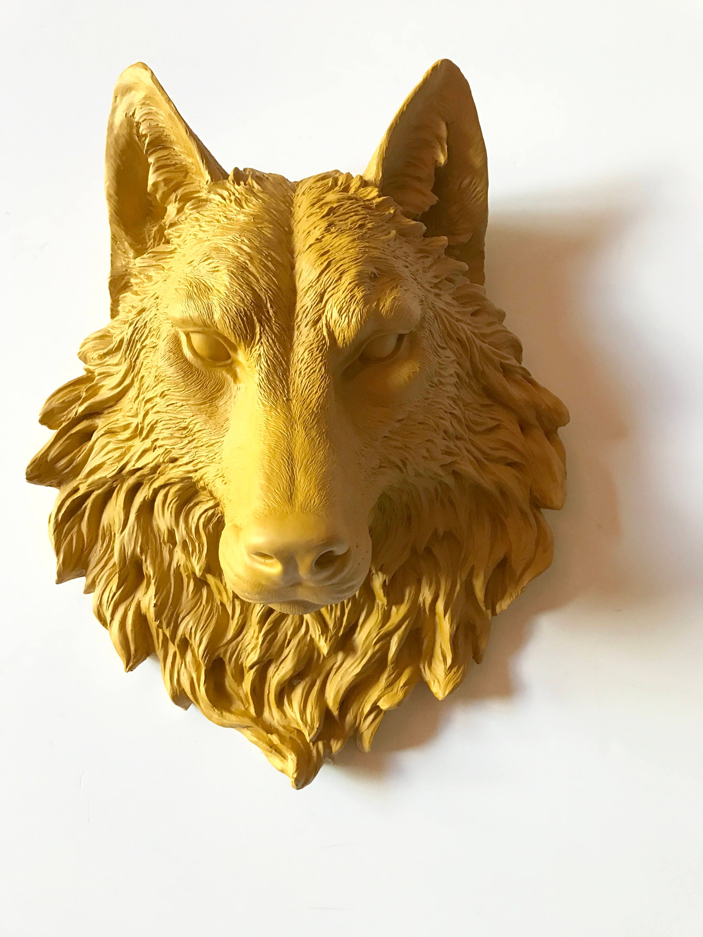 YOSEMITE YELLOW Large Faux Taxidermy Wolf Head wall mount faux ...