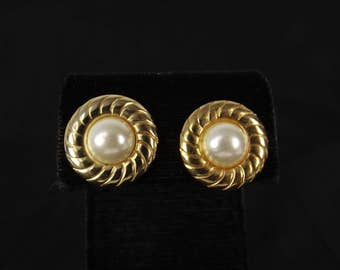 White Faux Pearl and Twisted Rope Post Earrings