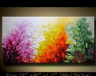 contemporary wall art,Palette Knife Painting,colorful Landscape painting,wall decor,Home Decor,Acrylic Textured Painting ON Canvas Chen 1126