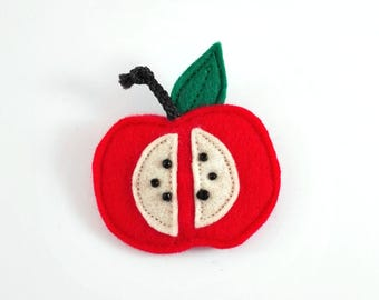 red apple brooch