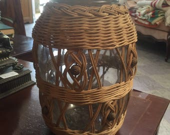 Vintage rattan wicker large jar container jug kitchen storage bohemian boho home decor free shipping