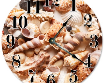 "VARIETY OF SHELLS Clock - Large 10.5"" Wall Clock - 2086"