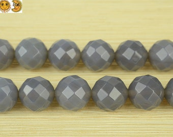 15 inch strand of natural Gray Agate faceted(64 faces) round beads 2mm 4mm 6mm 8mm 10mm 12mm 14mm