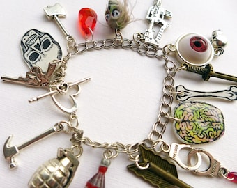 Zombie Apocalypse Charm Bracelet, zombie survivor jewelry, horror charm collection