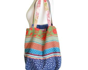 Large Boho style bag, tote bag, multicolored tapestry and jeans bag,  OOAK Bag made in Paris.