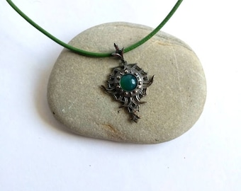 Gothic necklace, Pendant Necklace, Green stone necklace, Silver necklace