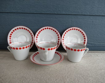 Set of 3 Vintage Polka Dot Pottery Teacup and Saucer, Northland China, Made in Hungary