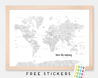 Custom World Map Watercolor Gray Countries Art Print Poster  -USA and Canada States - Travel Map World Map - Medium - XLARGE