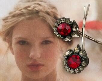 HOLIDAY SAVINGS 1940's Hairpins Bridal Hair Jewelry Red Ice Bobby Hair Pins Romantic Wedding