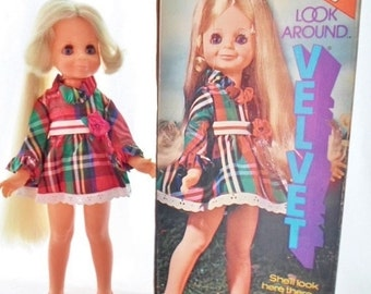 ON SALE Vintage 1972 Ideal Look Around Velvet Doll In Her Original Box, Original Clothes & Shoes, Crissy's Little Sister, Butterfly Pull Str