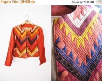 Bringing Home Baby SALE: Vintage Maroon Red Chevron Print Coat Jacket Colorful Print Weaved / Tribal / Aztec / Womens Clothing