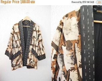 Bringing Home Baby SALE: Vintage 80s Batik Print Kimono Coat Jacket Abstract Print Tye Dye / Black Brown