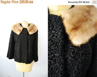 Bringing Home Baby SALE: Vintage 60s Persian Lamb Mink Collar Coat Jacket Flared Swing Cropped Outerwear Winter Coat