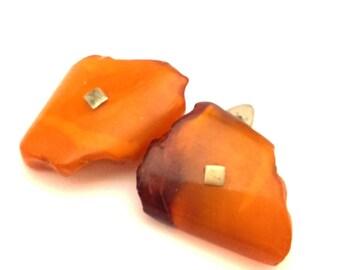 Amber Baltic Cufflinks Antique Genuine Elegant Orange Egg Yolk Yellow Color